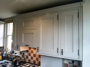 Hand Painted Bells 20 year old pine kitchen, Finished in Tikkurila Empire Furniture Paint